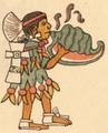 Codex Magliabecchi Aztec conch shell trumpeter quiquizoani.png
