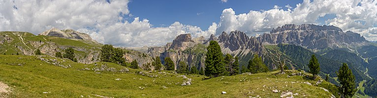 The Col dala Pieres peak, Mont de Sëura, The Chedul valley, Pizes de Cir and the Sella group with the Steviola mountain up front in the Puez-Geisler Nature Park in Val Gardena in the Dolomites - South Tyrol