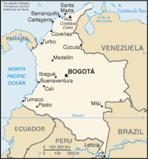 Outline of Colombia - An enlargeable basic map of Colombia