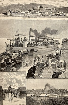 French colonies in 1891 (from Le Monde Illustré). 1. Panorama of Lac-Kaï, French outpost in China.   2. Yun-nan, in the quay of Hanoi.  3. Flooded street of Hanoi.  4. Landing stage of Hanoi