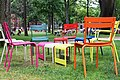Colorful chairs in Harvard Yard.JPG