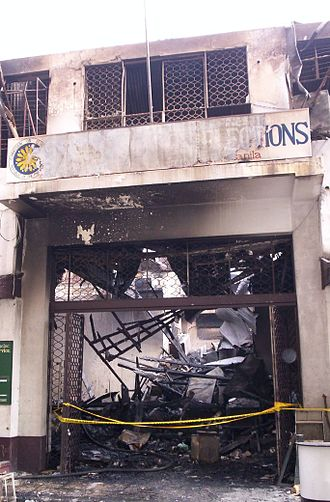 Philippine Senate election, 2007 - The Old COMELEC Building after being razed by fire on March 11, 2007.