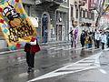 Commencement of Rijeka Carnival procession (head team) Quen & Baron (in white) of Carnival.JPG