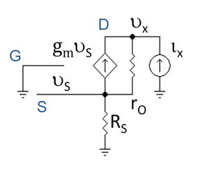 Common gate -  Figure 3: Hybrid pi model with test source ix at output to find output resistance