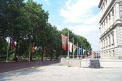 Drapeaux des membres du Commonwealth à Londres.