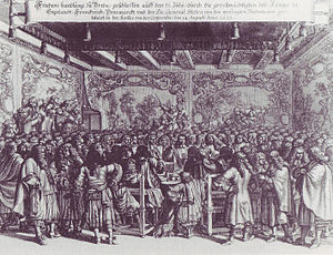Treaty of Breda (1667) - Contemporary engraving of the conclusion of the peace at Breda Castle