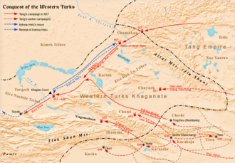 Western Turkic Khaganate - Tang Dynasty's conquest of Western Turks