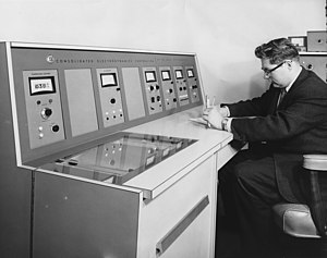 Consolidated Engineering Corporation - Physicist Ferdinand Zegel operates a Model 21-130 Mass Spectrometer made by Consolidated Electrodynamics Corporation, April 1961.