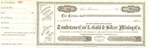 Anson P. K. Safford - Stock certificate of the Consolidated Tombstone Gold and Silver Mining Company