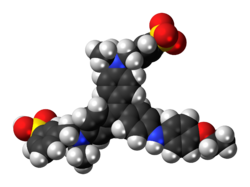Space-filling model of the Coomassie Brilliant Blue R-250 molecule