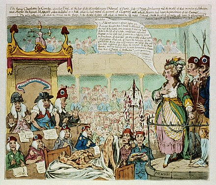 Caricature of Corday's trial by James Gillray, 1793. Corday-Gillray-color.jpeg