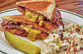 Corned beef and pastrami with cheese and hot pepper mustard (14898438759).jpg