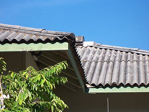 "Asbestos cement - Roof sheeting, known as Hardies ""Super Six."""