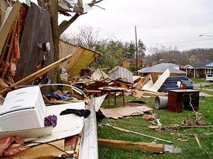 March 2009 tornado outbreak sequence - Damage from the EF3 Corydon tornado