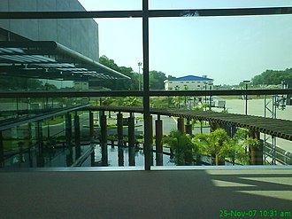 Yangon International Airport - The Courtyard (Terminal 2) seen inside from the airport departure lounge