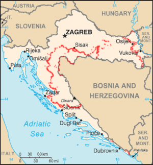 Multicouloured map of Croatia