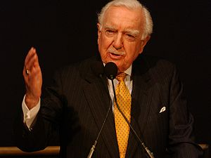 Walter Cronkite - Walter Cronkite speaks at a NASA ceremony in February 2004