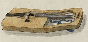 Crwth - Watercolour of a Crwth from Pennant's A tour in Wales, 1781