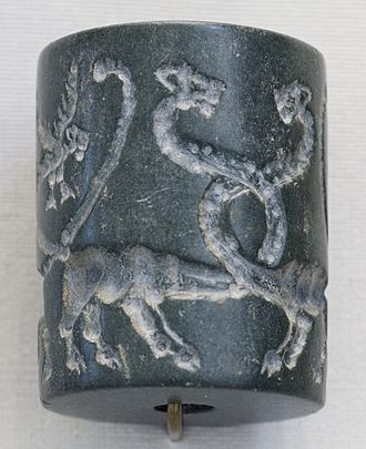 Uruk - Uruk cylinder seal, depicting monstrous animals.
