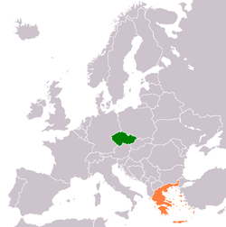 Map indicating locations of Czech Republic and Greece
