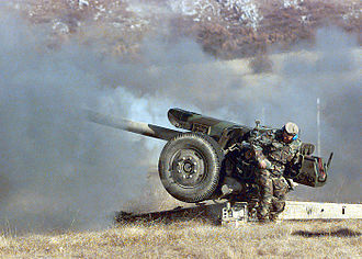 Croats of Bosnia and Herzegovina - HVO soldier fires a 122mm Howitzer D-30J