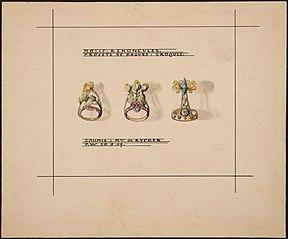 """Design drawing for rings """"Ranunculus motif"""""""