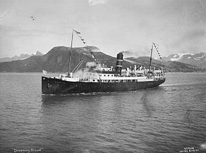 SS Dronning Maud (1925) - Dronning Maud somewhere on the Norwegian coast in 1925