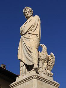 Dante-Denkmal auf der Piazza Santa Croce in Florenz, Enrico Pazzi (1865). (Quelle: Wikimedia)