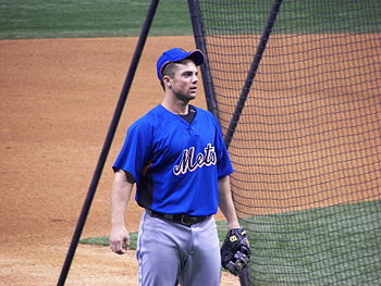 New York Mets third baseman David Wright befor...