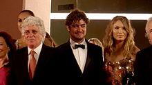 Riccardo Scamarcio insieme a Ninetto Davoli alla 71ª Mostra internazionale d'arte cinematografica di Venezia (2014)