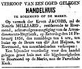 De Roermondenaar vol 001 no 004 advertisement Verkoop van een goed gelegen handelhuis te Roermond op de Markt.jpg