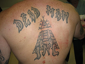 Prison tattooing - Tattoos on the back of a Dead Man Incorporated gang member