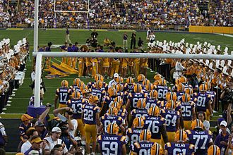 2007 LSU Tigers football team - Second ranked LSU comes onto the field at the start of the game versus Middle Tennessee State.