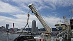 Deck crane(left) of JCG Settsu(PLH-07) at Port of Kobe July 22, 2017 01.jpg