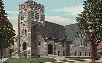 South Paris, Maine - Deering Memorial Church, designed by Sidney Badgley