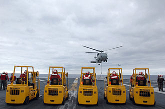 Vertical replenishment - Forklifts prepare to receive cargo from an SH-60F Seahawk helicopter during a vertical replenishment onboard the aircraft carrier USS John C. Stennis (CVN 74)