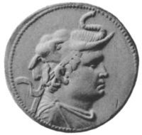 Silver coin depicting King Demetrius (reigned c. 200-180 BCE), wearing an elephant scalp, symbol of his conquests in India.
