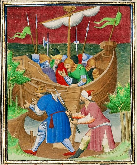 The killing of Demetrius II, French illustration from about 1413-1415 CE Demetrius Nicator, King of Syria, Killed as He Attempts to Land at Tyre - Google Art Project cropped.jpg