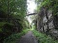 Derelict footbridge over the railway path near Wagtail Farm - geograph.org.uk - 1426971.jpg
