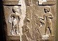 Detail, 3rd register of the stele of Dadusha, king of Eshnunna, c. 1800 BCE. From Tell Asmar, Iraq. Iraq Museum.jpg