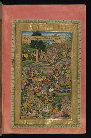 Khamsa of Nizami (British Library, Or. 12208) - The Death of Darius, by Dharm Das, another Walters page