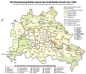 Greater Berlin Act - Map showing the new territories merged into Berlin in 1920