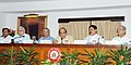 Dinesh Trivedi addressing a press conference on safety issues, in New Delhi on September 16, 2011. The Minister of State for Railways, Shri Bharatsinh Solanki and other dignitaries are also seen.jpg