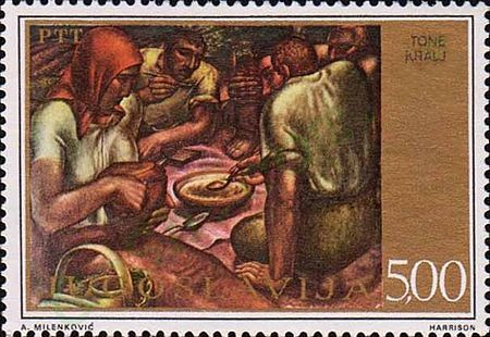 Dinner by Kralj on a 1975 Yugoslavia stamp Dinner by Tone Kralj 1975 Yugoslavia stamp.jpg