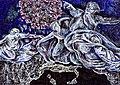 Dio smaterializza la molecola del Coronavirus COVID-19 per porre fine alla pandemia del 2019-2020 in Italia e nel mondo (E guarirai da tutte le malattie ed io, avrò cura di te); God fights the Coronavirus, grattage dell'artista Giovanni Guida.jpg