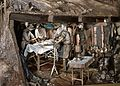 Diorama of Great War front with sectioned field dressing station Wellcome L0057925.jpg
