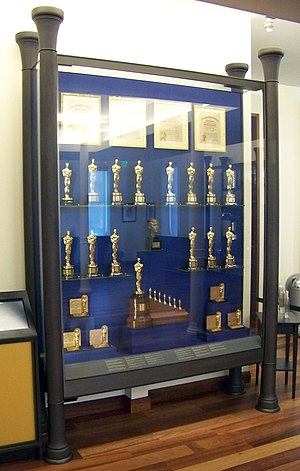 Walt Disney Family Museum - This display case in the lobby shows many of the Academy Awards he won, including the distinctive special award at the bottom for Snow White and the Seven Dwarfs.