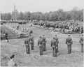 Distance view of President Truman attending the burial of twenty soldiers at Arlington National Cemetery. These... - NARA - 199686.tif