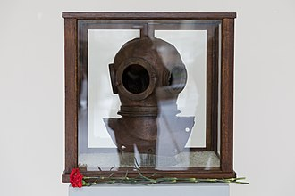 Kronstadt Naval Museum - Diving helmet that belonged to the Senior Chief Navy Diver Nikita Sergeyevich Myshlyaevskiy
