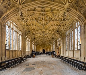 Divinity School, Oxford - The interior of the Divinity School, looking west to the doorway of Convocation House